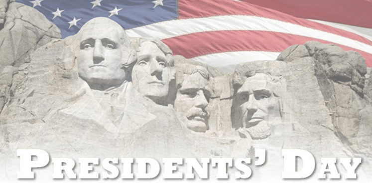 Image of Mount Rushmore with American flag and the words