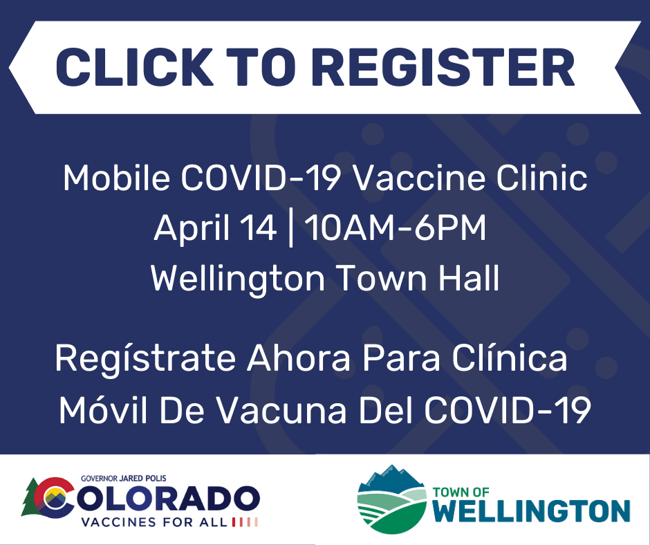 Click to register for the COVID 19 Vaccine Clinic April 14 10 a.m. to 6 p.m.
